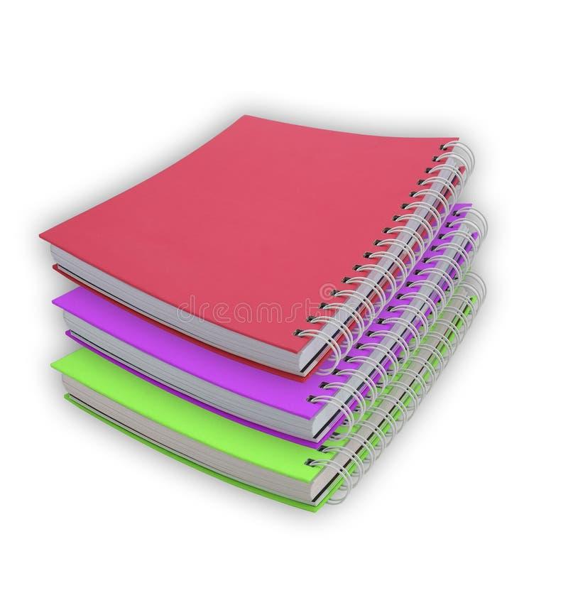 Cahiers colorés d'isolement sur le fond blanc images stock