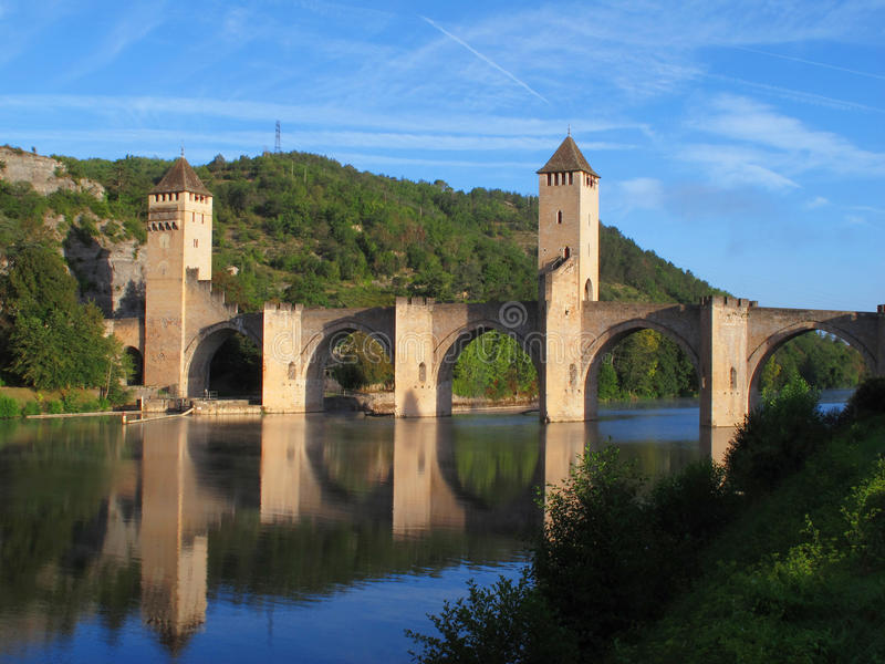 Cahors-Brücke lizenzfreies stockfoto