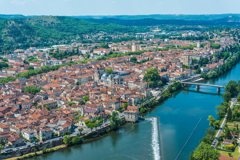 Cahors from Mont Saint Cyr in Lot, France. Cahors as seen from Mont Saint Cyr in Lot, Midi-Pyrenees, France stock photography