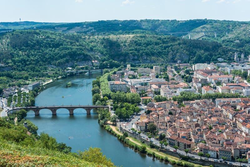 Cahors od Mont świętego Cyr w udziale, Francja fotografia royalty free