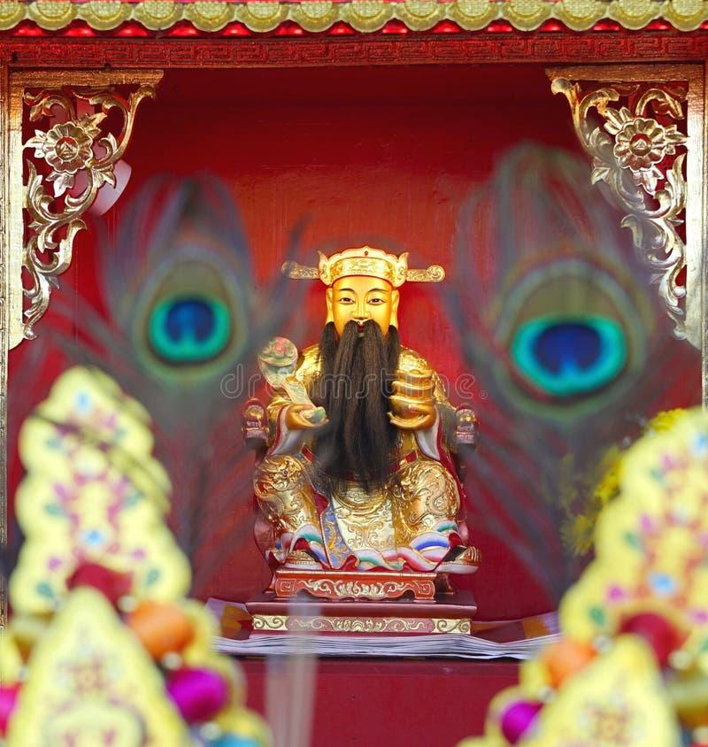 Cai沈、财富的中国上帝或上帝时运雕象 免版税库存照片