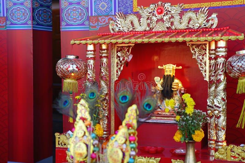 Cai沈、财富的中国上帝或上帝时运雕象 库存照片