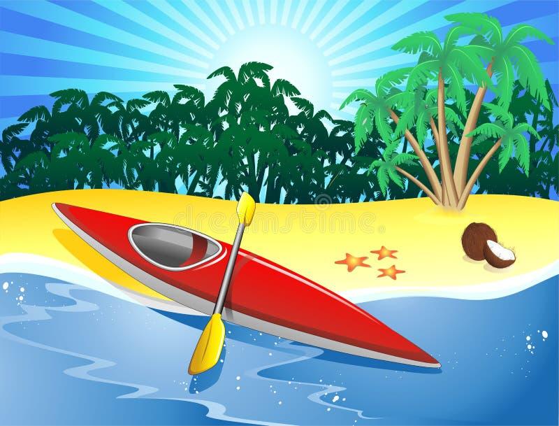 Caiaque da canoa na praia exótica ilustração do vetor