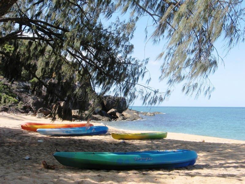 Caiaque na praia na ilha de Hinchinbrook fotos de stock