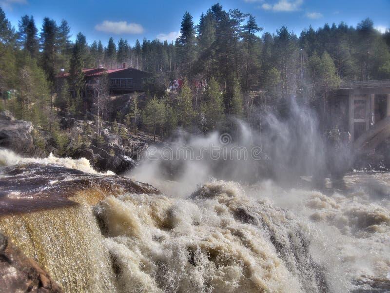 Caieira, cachoeira no norte da Suécia fotos de stock royalty free