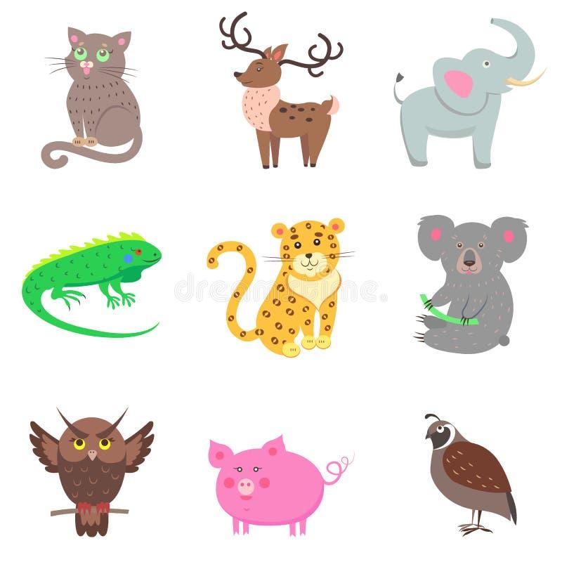 Cailles, porc, koala, éléphant, Jaguar, iguane, cerf commun illustration stock