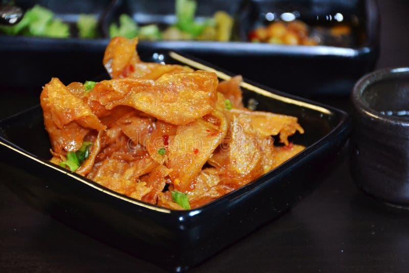 Caillette de haricots frite épicée de nourriture chinoise photos stock
