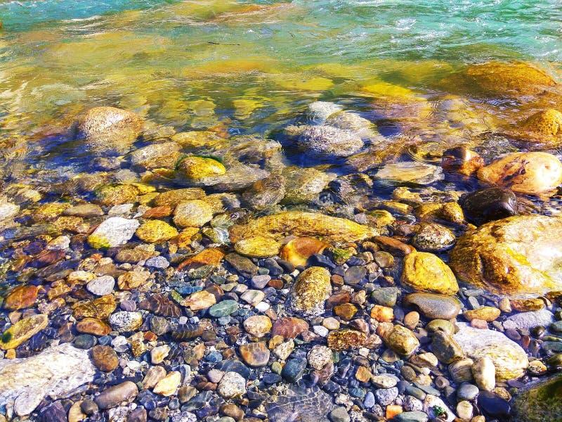 Cailloux d'eau peu profonde de rivage de rivière photographie stock libre de droits
