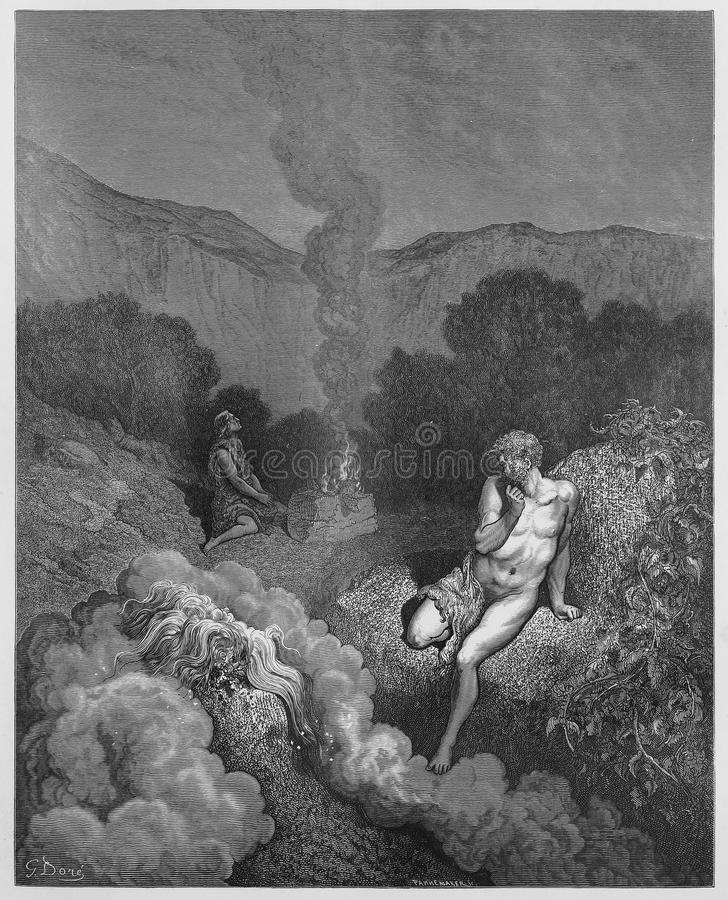 Cain and Abel offering their sacrifices. Picture from The Holy Scriptures, Old and New Testaments books collection published in 1885, Stuttgart-Germany royalty free stock photography