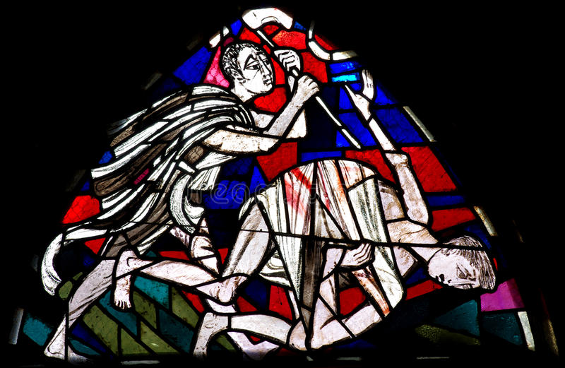 Download Cain Killing Abel In Stained Glass Stock Photo - Image: 45641406