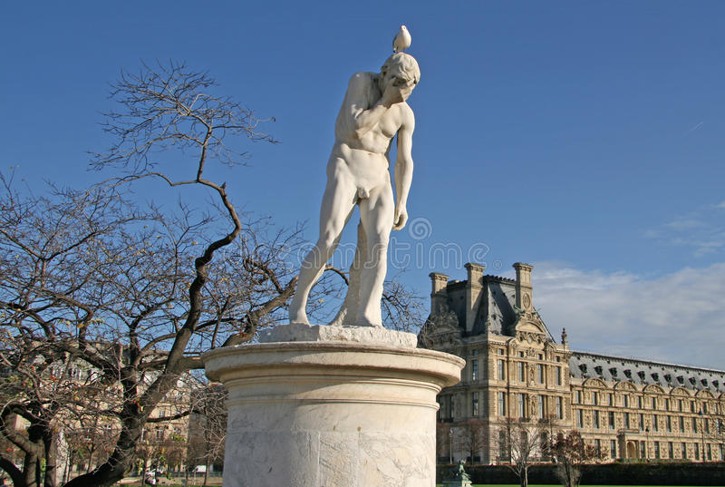 Cain statua w Tuileries ogródzie Paris france obraz stock