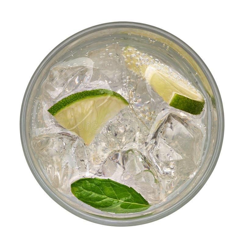 Caipirinha del top, del cóctel de Mojito, de la vodka o de la bebida de la soda con la cal imagen de archivo