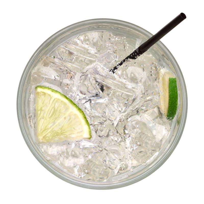 Caipirinha gelado da parte superior, do cocktail do mojito, da vodca ou da bebida da soda com cal imagens de stock