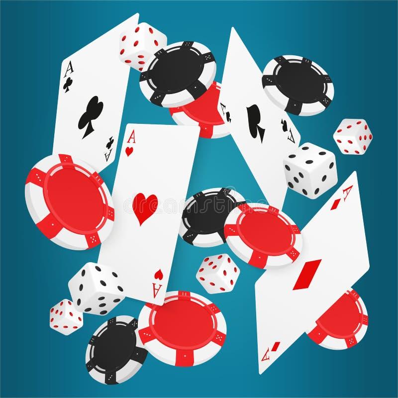 Cair aces cartões com as microplaquetas vermelhas e pretas e dados diferentes no fundo azul ilustração royalty free