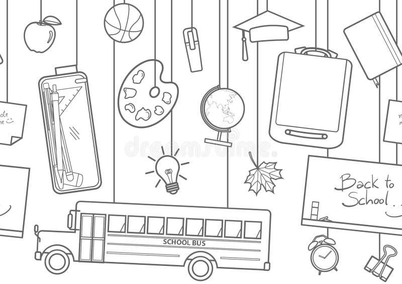 Cair bonito das fontes de escola de cima de ilustração stock