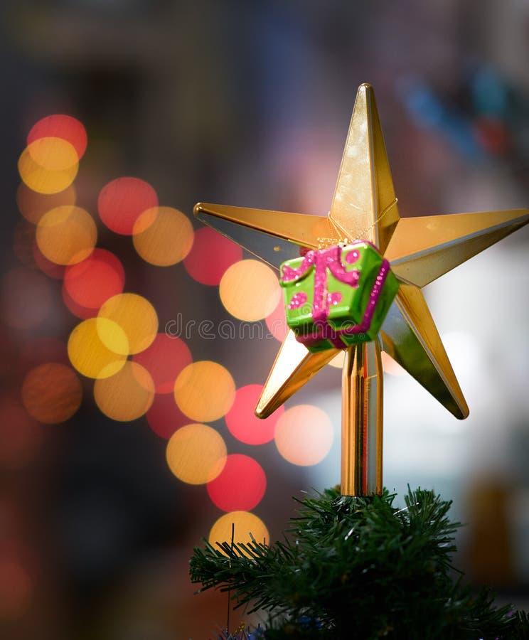 Cair da caixa de presente na decoração dourada da estrela na árvore da pele imagem de stock