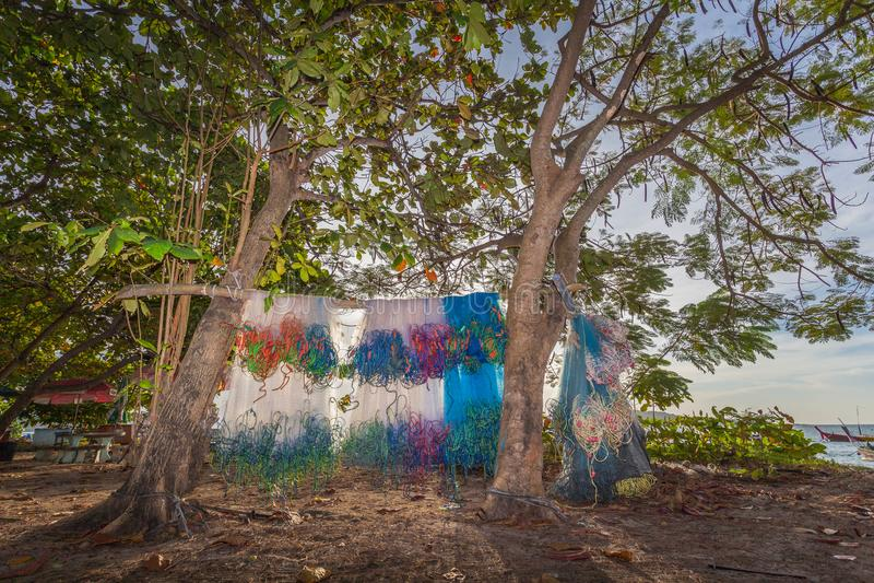 cair das redes de pesca nas árvores imagem de stock