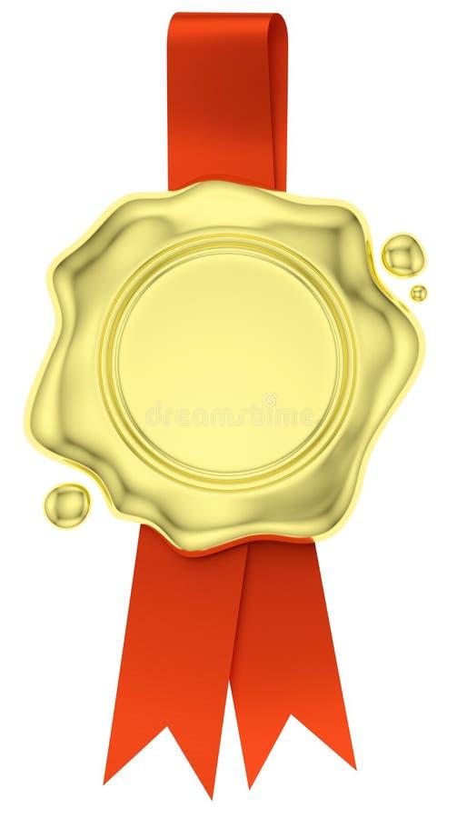 Cair do selo da cera do ouro na fita vermelha isolada no branco ilustração do vetor