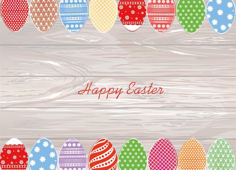 Cair dos ovos da páscoa em uma fita com curvas Cartão ou invitat ilustração do vetor