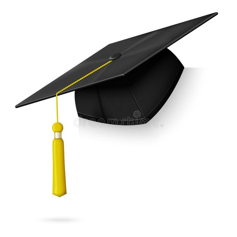 Cair realístico do tampão da graduação do vetor no canto ilustração royalty free