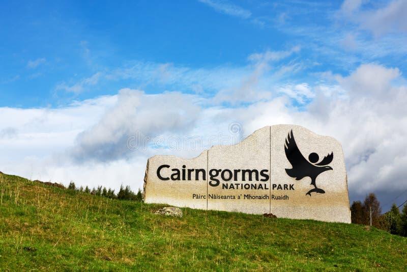 Cairngorms nationalparktecken royaltyfri foto