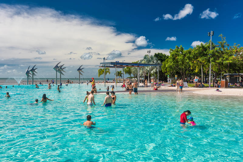 CAIRNS; AUSTRALIA - 17 APRIL 2017. Tropical swimming lagoon on t. He Esplanade in Cairns with artificial beach; Queensland; Australia stock photos
