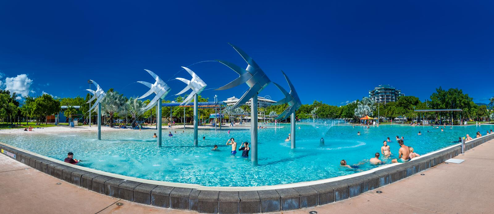 CAIRNS, AUSTRALIA - 27 MARCH 2016. Tropical swimming lagoon on t. He Esplanade in Cairns with artificial beach, Queensland, Australia stock photography