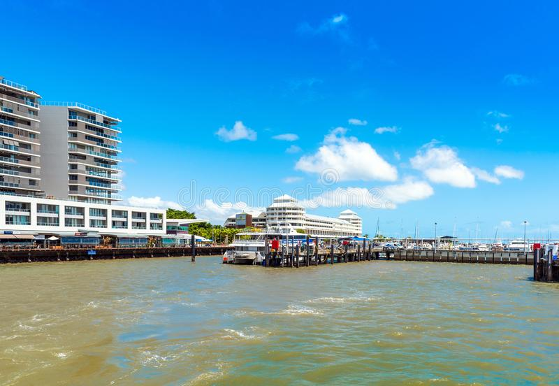 CAIRNS, AUSTRALIA - NOVEMBER 11, 2018: View of the city promenade. Copy space for text royalty free stock photo