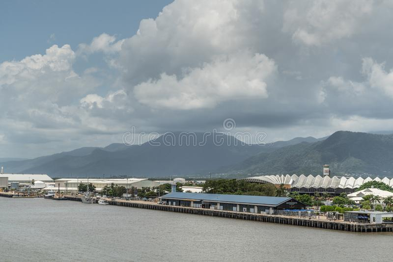 Cairns Cruise Liner Terminal with Convention center in back, Australia stock photography