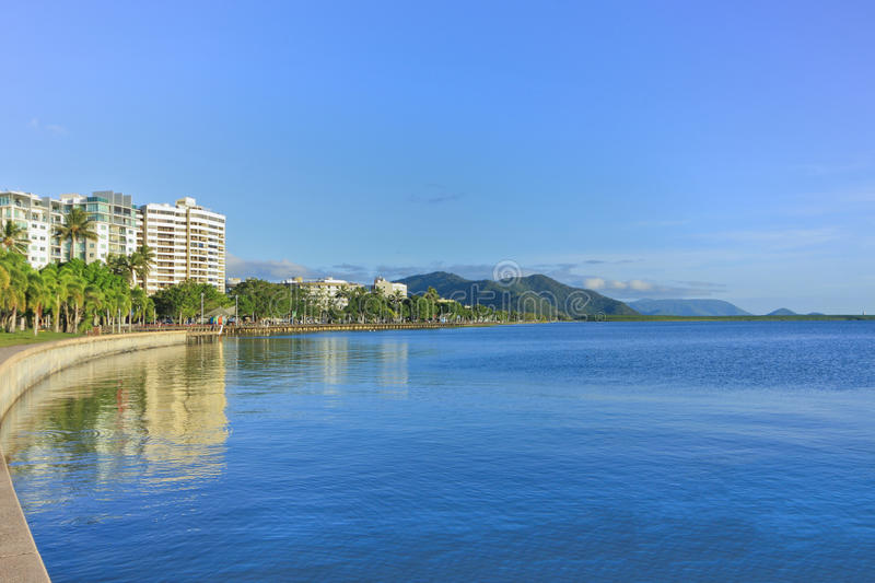 Cairns esplanade 1242. View looking across the Cairns esplanade with the tide in stock image