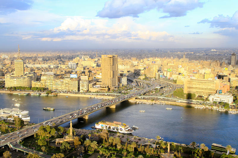 Download Cairo aerial editorial stock image. Image of city, bridge - 18058649