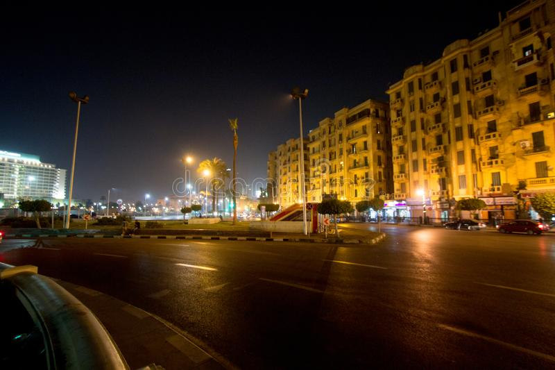 Tahrir Square. Cairo, Egypt – November 5, 2018: photo for Tahrir Square in the night in Cairo city capital of Egypt, and its witnessed most revolutions stock photography