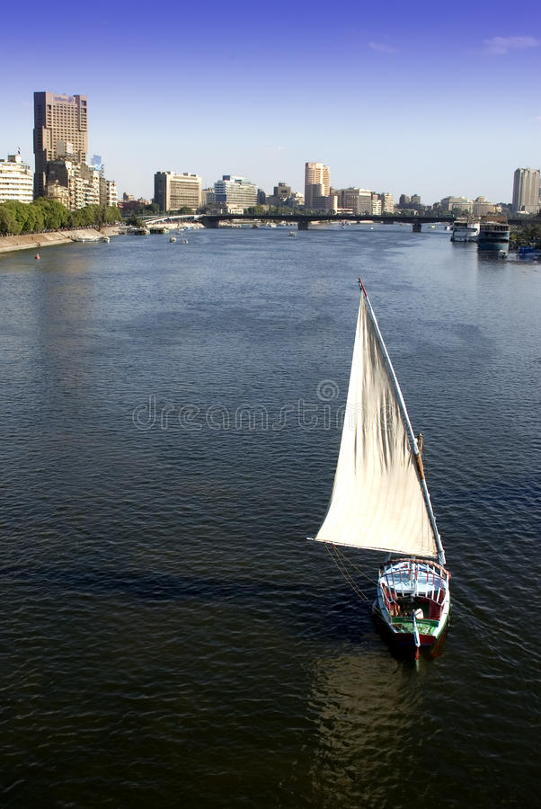 Cairo, Egypt City Skyline Sailboat Nile River Royalty Free Stock Image