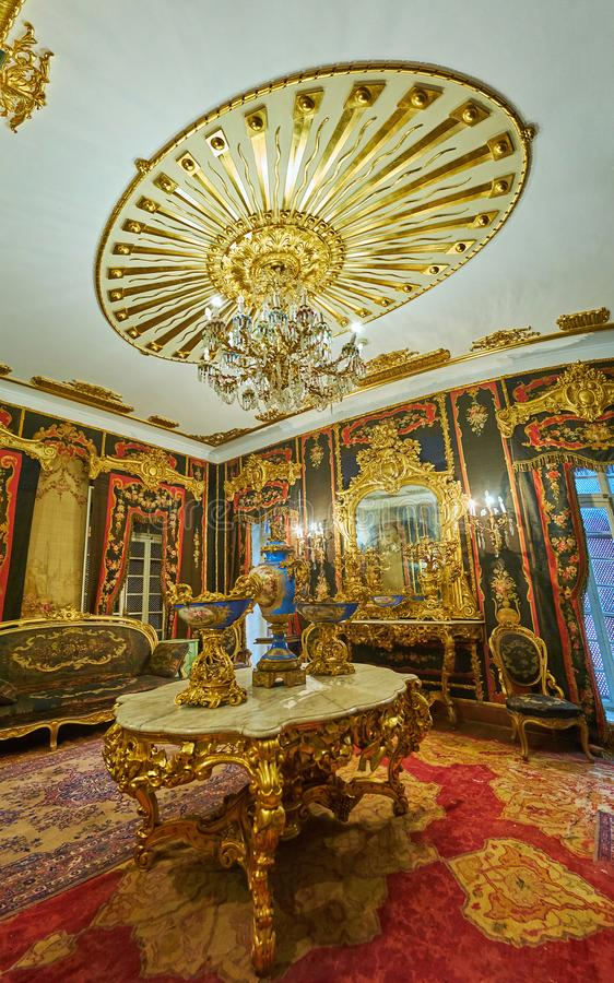 The splendor of Aubusson Room in Manial Palace, Cairo, Egypt royalty free stock image