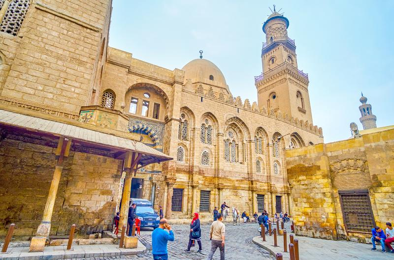 The beautiful architecture of medieval Cairo, Egypt. CAIRO, EGYPT - DECEMBER 20, 2017: Buildings in Bayn al-Qasrayn district in Cairo is the pearl of Arabian royalty free stock image