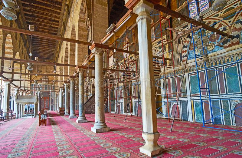 In medieval mosque of Sultan AL-Muayyad, Cairo, Egypt. CAIRO, EGYPT - DECEMBER 21, 2017: Interior of the medieval mosque, built by Mamluk Sultan Al-Muayyad, it`s stock images