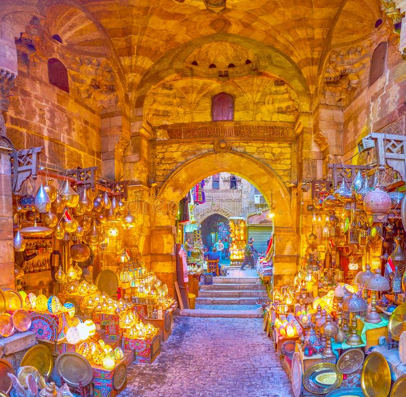 Panorama of famous lighting shop in Khan El-Khalili Souq in Cairo, Egypt. CAIRO, EGYPT - DECEMBER 20, 2017: Khan EL-Khalili market boasts beautiful lighting shop royalty free stock image