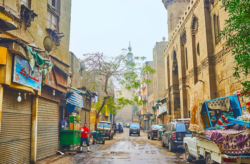 The alleys at Al-Moez street, Islamic Cairo, Egypt royalty free stock photo