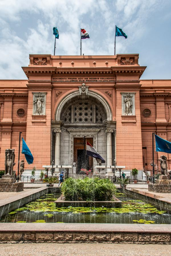 CAIRO, EGYPT 25.05.2019 Exterior of the Egyptian Museum Antiquities one of the most famous museums of the world stock images