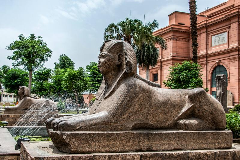 CAIRO, EGYPT 25.05.2019 Exterior of the Egyptian Museum Antiquities one of the most famous museums of the world royalty free stock photos