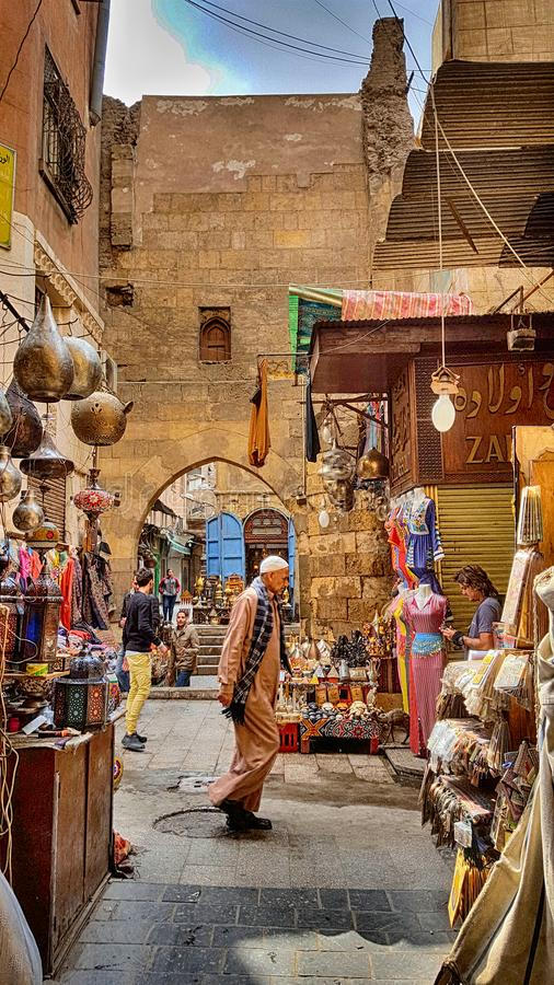 Lamp or Lantern Shop in the Khan El Khalili market in Islamic Ca royalty free stock images