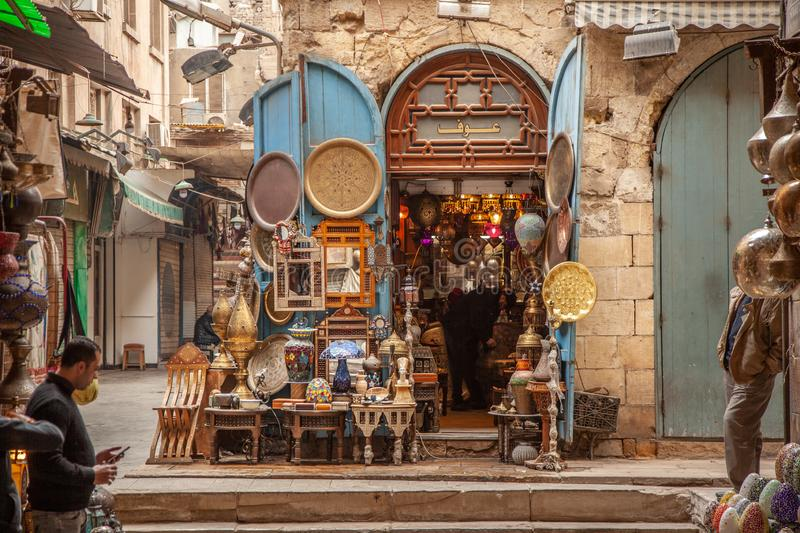 Lamp or Lantern Shop in the Khan El Khalili market in Islamic Cairo royalty free stock image
