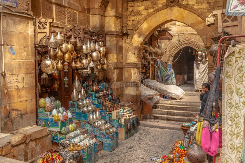 Lamp or Lantern Shop in the Khan El Khalili market in Islamic Cairo. Cairo, Egypt - Feb 02 2019: Lamp or Lantern Shop in the Khan El Khalili market in Islamic royalty free stock images