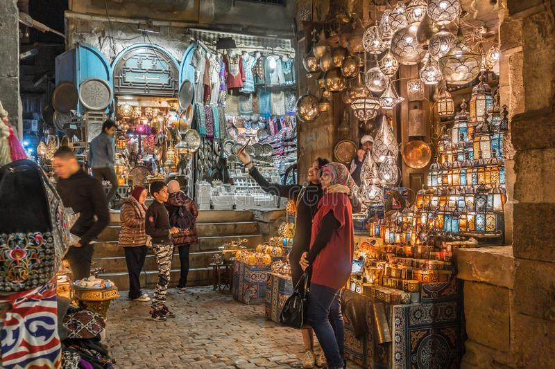Lamp or Lantern Shop in the Khan El Khalili market in Islamic Cairo royalty free stock photography