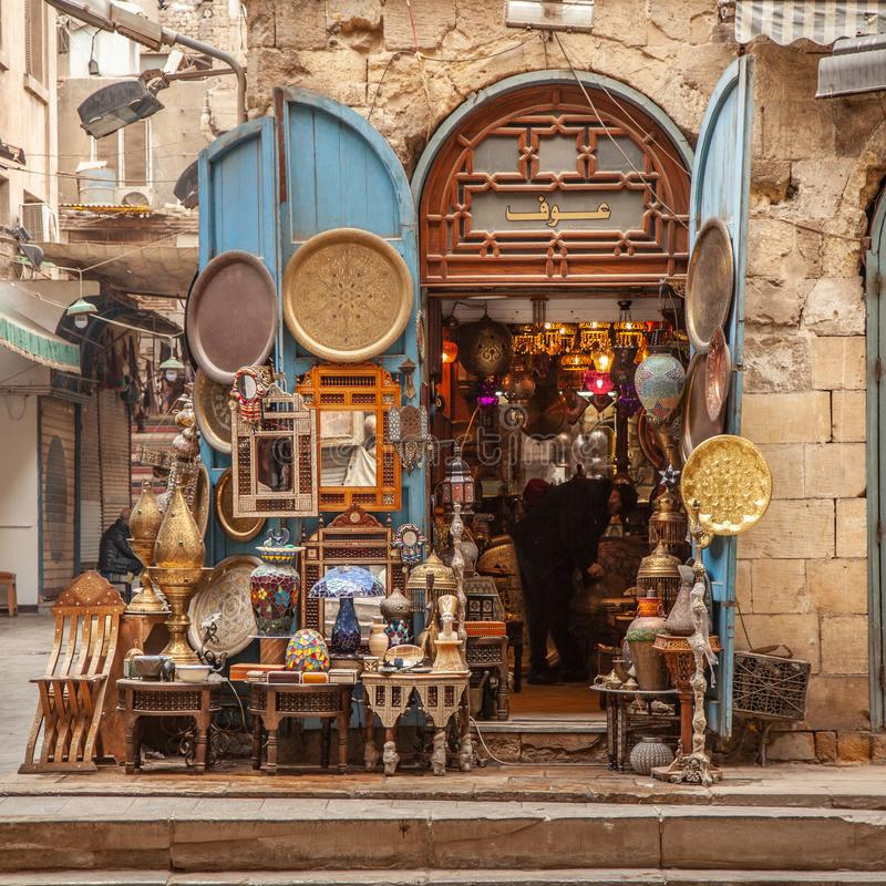 Lamp or Lantern Shop in the Khan El Khalili market in Islamic Cairo royalty free stock images