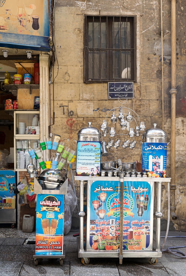 Cairo, Egypt - February 6, 2016: Local juice bar, Moez Street, Cairo, Egypt. One of the old traditions of Egypt stock photos