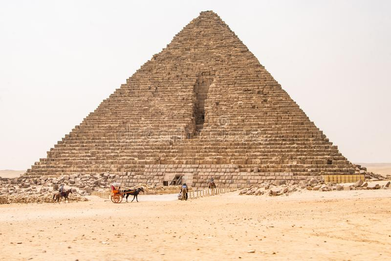 Cairo, Egypt 25.05.2018 The Great Pyramids of Giza desert near Cairo in Egypt unesco cultural heritage. Cairo, Egypt 25.05.2018 The Great Pyramids of Giza in the stock photos