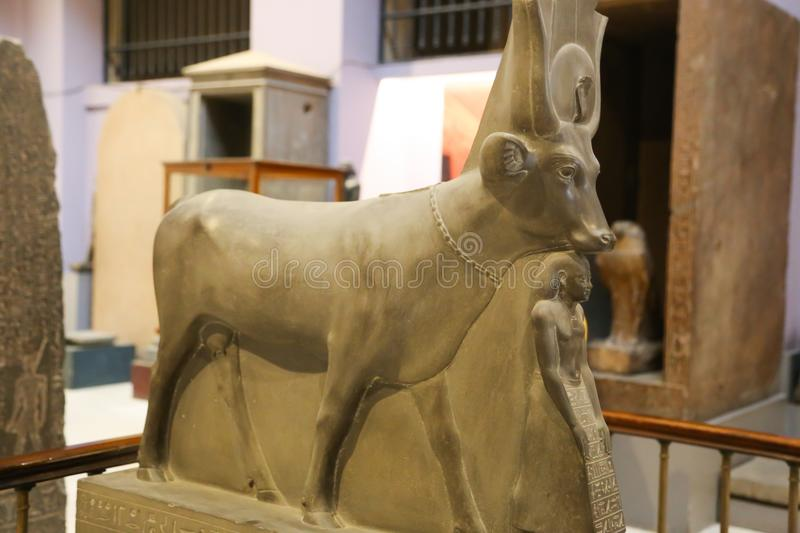 Statue for god Anubis of Taut Ankh Amon treasure - Egyptian museum. Cairo, Egypt Jan. 2018 Ancient gold and silver pieces of Taut Ankh Amon treasure Egyptian stock photo