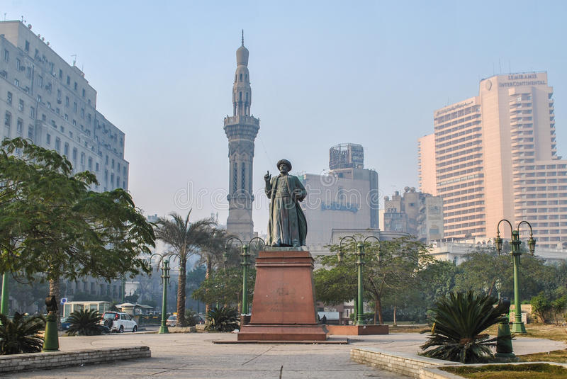 Cairo, Egypt - January 15, 2011: Tahrir Square, one of the attractions of downtown Cairo. Tahrir Square, one of the attractions of downtown Cairo stock photo