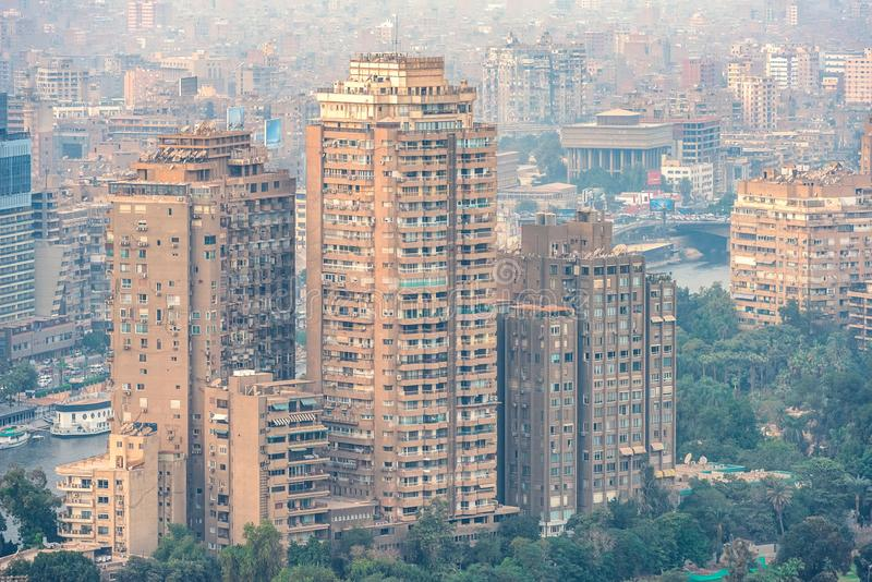 11/18/2018 Cairo, Egypt, panoramic view of the central and business part of the city from the observation deck at the highest towe. 18/11/2018 Cairo, Egypt stock images